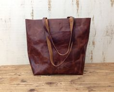 Sale!!! Brown leather tote bag External pocket Rustic Leather Tote crossbody - Optional crossbody strap by plgdesigns. Explore more products on http://plgdesigns.etsy.com