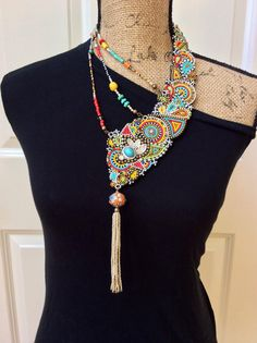 Asymmetrical Beadwork Necklace. Statement Necklace. Tribal