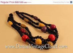 50% OFF Valentine Sale Vintage 80s Black Wooden Triple Strand Necklace