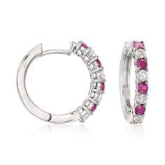 Ross-Simons - t. Ruby, t. Diamond Hoop Earrings in White Gold. Diamond Hoop Earrings, Diamond Pendant Necklace, Sterling Silver Earrings Studs, Silver Ring, Silver Necklaces, Minimalist Earrings, Minimalist Jewelry, Chandelier Earrings, Silver Charms