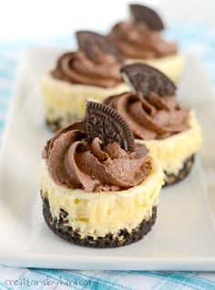 Easy and delicious, these mini chocolate mousse oreo cheesecakes are sure to become a favorite dessert recipe!