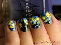 van gogh's starry night = nail materpiece by beatrice