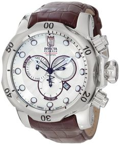 Jason Taylor for Invicta Collection 12960 Reserve Chronograph Silver Patterned Dial Brown Leather Watch - Invicta Watch - Wrist Watches - Watches class=