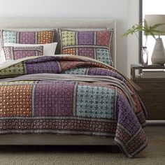 Leila Quilt / Sham - Intricate mosaics inspired by centuries-old batik textiles lend a global-chic sensibility to our colorful Leila patchwork quilt and sham. Master Bedroom Redo, Cozy Bedroom, Bedroom Ideas, Master Bedrooms, Queen Sheets, Bed Sheets, Bed Styling, Bed Covers, Bed Spreads