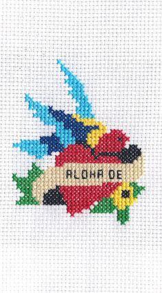 Sailor Jerry Heart Cross Stitch Pattern