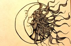 love hair distance My art moon kiss sun doodle insomnia myart surreal hopeless romantic sun and moon