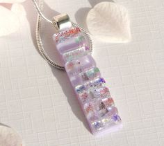 Long Slim Glass Pendant - Textured Dichroic Glass Necklace - Mauve Fused Glass Jewelry by TremoughGlass on Etsy