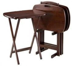 TV Table Set 5 Piece Media Tables Handle Winsome Wood Home Coffee Folding Tray