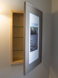 recessed medicine cabinet with a picture frame door and no mirror! Woodworking Furniture, Woodworking Projects, Woodworking Classes, Woodworking Jigs, Best Kitchen Design, Awesome Woodworking Ideas, Diy Home, Home Decor, Hidden Storage