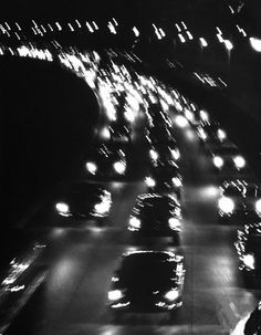 Yale Joel: Night traffic on the Major Deegan Expressway. New York, June 1958