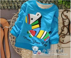 2014 babyboys new cutton colored cartoon zebra Spring and autumn children long sleeved kids clothes wholesale baby boy tops tees US $15.89