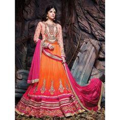 Orange And Pink Net Lehenga Choli With Hand Embroidery Work