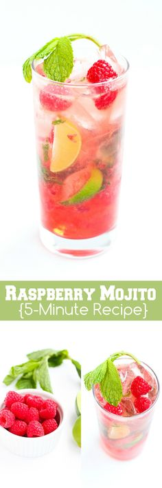 Raspberry Mojitos…Whip up this refreshing take on a classic cocktail in just 5 minutes! 150 calories and 6 Weight Watchers SmartPoints