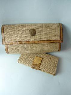 Carteira de Mão e Porta Cédulas confeccionadas com caixa tetra pak, filtro de café, juta e ferragem em ouro velho.
