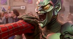 In Spider-Man when he goes to punch Green Goblin the Stunt-Doubles lips can be seen still. While Willem Dafoe voiceovers Impressive! Green Goblin Spiderman, Spiderman 2002, Sam Raimi, Villain Costumes, Willem Dafoe, Stunt Doubles, Recent Movies, Childhood Movies, Superhero Characters