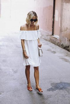 spring / summer - street style - street chic style - summer outfits - beach outfits - travel outfits - getaway outfits - white off shoulder dress + brown sandals + black cat eye sunglasses - white shoulder bag