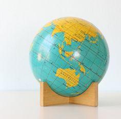 Retro Cram's Globe - love the base Vintage Globe, Vintage Maps, Antique Stores, Or Antique, Global Gathering, Painted Globe, World Globes, Nautical Chart, Map Globe