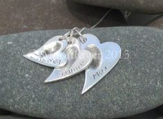 Silver Fingerprint Necklace - triple hearts By Heather de Gruyther £160.00 | Picked from Picklist.me |