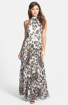 Eliza J Print Chiffon Halter Maxi Dress available at #Nordstrom