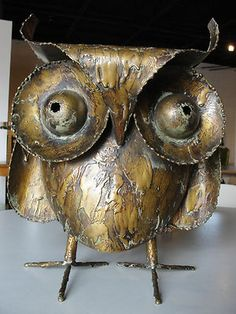 """1967 signed large brass owl by C Jere -- one of the holy grails for owl collectors! 16""""X13"""""""