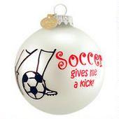 Soccer Gives Me a Kick Glass Ornament  border=