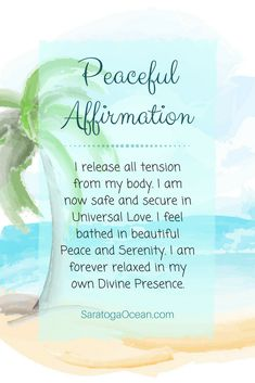 Here is an affirmation to feel calm and peaceful. Read this out loud to yourself slowly, and notice how it improves your vibration.