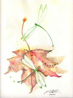 8x10 Fall leaf/ dragonfly print of Original by dragonflypoppy, $20.00
