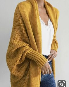 Chellysun Pavacat Colbie Dolman Cardigan - Yellow / S Yellow Cardigan Outfits, Cardigan Casual, Oversized Cardigan Outfit, Cardigan Fashion, Mustard Yellow Cardigan, Cocoon Cardigan, Open Cardigan, Mode Outfits, Fashion Outfits