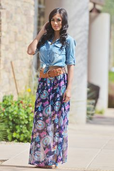 Field Of Dreams Maxi Skirt - Navy from Closet Candy Boutique
