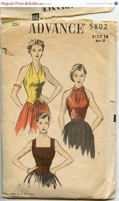 ON SALE 1950s Blouse Pattern Advance 5802 Sexy by GreyDogVintage, $12.00