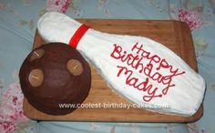 Homemade Bowling Birthday Cake: This was such fun to make. Thanks to all who have previously submitted their bowling birthday cakes. You all gave me great ideas. I used the pampered Bowling Birthday Cakes, Diy Birthday Cake, 10th Birthday, Birthday Ideas, Birthday Parties, Bowling Party, Bowling Ball, Pampered Chef, Homemade Cakes