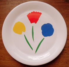 Marimekko lunch and dinner plates OY pattern with Pfaltzgraff 3 flowers by vakvar on Etsy
