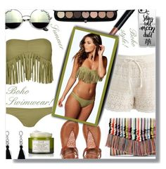 """Boho Swimwear!"" by sarahguo ❤ liked on Polyvore featuring Boohoo, Marc Jacobs, Chicwish, Bobbi Brown Cosmetics, Casetify, Stella & Dot, Roxy and Fresh"