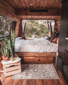 This looks like the coziest converted van bed! Would you love to wake up to thi… This looks like the coziest converted van bed! 😍 Would you love to wake up to this gorgeous view? 👀 Tag a friend who will love this! Camper Interior Design, Van Interior, Modern Interior, Bus Life, Camper Life, Kombi Motorhome, Camper Trailers, Rv Campers, Van Bed