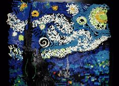O artistaFlippyCatrecriou oquadro Starry NightdeVan Gogh com7.067dominóscoloridos.