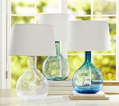 Eva Colored Glass Table Lamp #potterybarn...need 2 for living room side tables