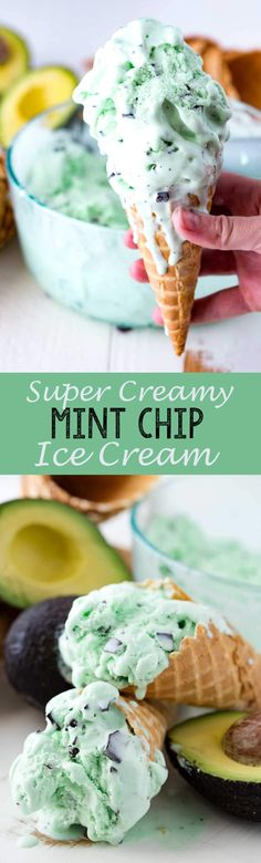 Super Creamy Mint Chip Ice Cream is one of my favorite desserts! You won't believe the ingredients - Eazy Peazy Mealz Ice Cream Desserts, Frozen Desserts, Ice Cream Recipes, Frozen Treats, Easy Desserts, Delicious Desserts, Dessert Recipes, Yummy Food, Avocado Brownies