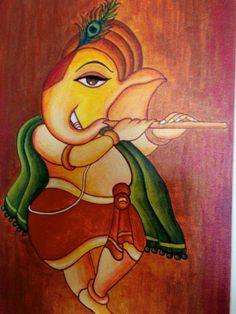 Canvas paint Yellow Things yellow h&m coat Ganesha Drawing, Lord Ganesha Paintings, Ganesha Art, Krishna Painting, Krishna Art, Jai Ganesh, Shiva Art, Buddha Painting, Kerala Mural Painting