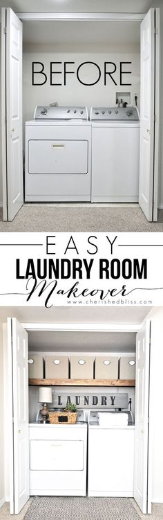 This Laundry Room Makeover transforms this little closet with wasted space into a functional laundry area with just a few simple changes! - Our Home Decor Laundry Room Design, Laundry Area, Laundry Decor, Basement Laundry, Small Laundry Rooms, Room Organization, Laundry Closet Organization, Laundry Closet Makeover, Closet Storage
