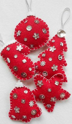 Red and Silver Sparkle felt Christmas Ornaments