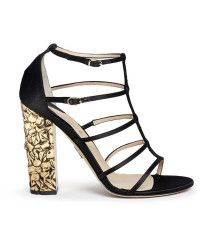 Paul Andrew | 'oralie' 24k Gold Dipped Floral Heel Satin Sandals |  Lyst