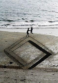 Disegnare sulla spiaggia in 3D