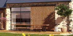 Baie vitrée avec volet à claire voie coulissant - rénovation-extension- Nature et Logis - Sarthe - France