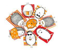 Yulia Brodskaya : General. Hedgehogs lying on towels -- so lovely. See artist's work on zazzle.
