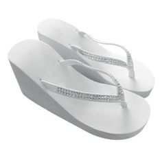 753baa23f2b39 Amazon.com  Women High Wedge Flip Flop with Crystal Accented Suedene Strap ( Ivory) (US 7)  Clothing. Bridal Flip FlopsBride ShoesWedding ...