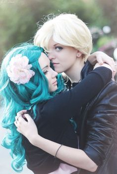 this is kinda cute and they are TOTALLY NOT cousins!!!! Sailor Uranus and Sailor Neptune in love forever