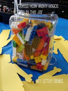 Lego party, guess how many legos are in the jar