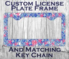 custom monogrammed personalized license plate frame lily pulitzer inspired she she shell vanity car tag