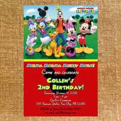 Customized Mickey Mouse Clubhouse Birthday Party Invite - Digital File