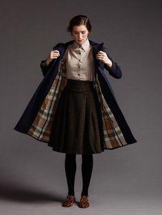 Navy coat with tartan lining~ winter wear. Waist yoke to brown tweed skirt.   Handsom a/w '13